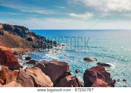 View Of The Seacoast And The Beautiful Red Beach