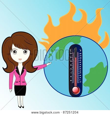 Business woman describe about global warming
