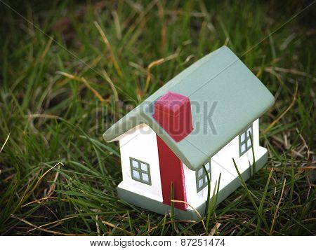 Toy House On Grass
