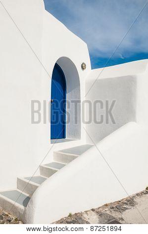 White-blue National Architecture On Santorini Island, Greece