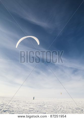 Kiteboarding on snow