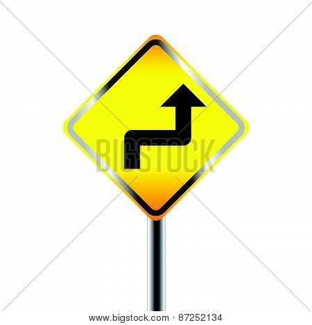Caution Sign road on Isolated background