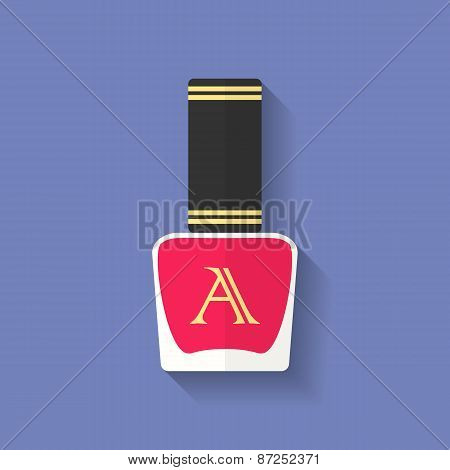 Nail Polish, Nail Varnish Icon. Flat Style