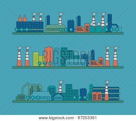 Flat design vector concept illustration with icons of urban landscape and industrial factory buildin