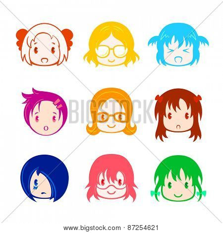 Colorful little girl head icons in anime style