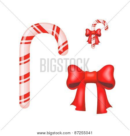 Christmas Candy Cane isolated on a white background.  illustration.