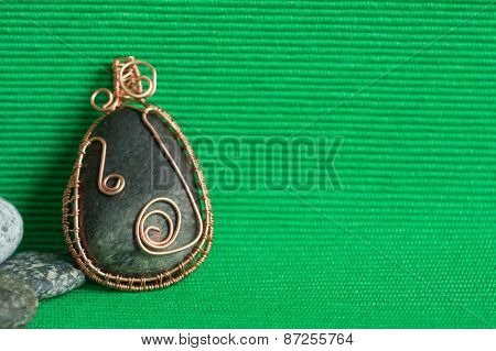 Handmade Pendent From A Stone And A Wire