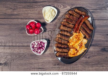 Grilled kebab, turkish style barbecued meat