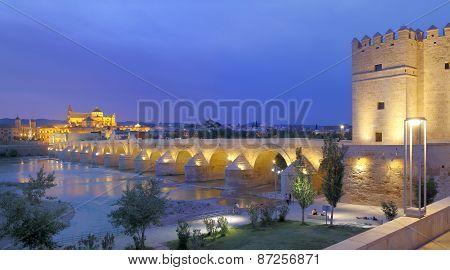 Cathedral Mezquita and Roman bridge at sunset, Guadalquivir river, Cordoba, Andalusia, Spain