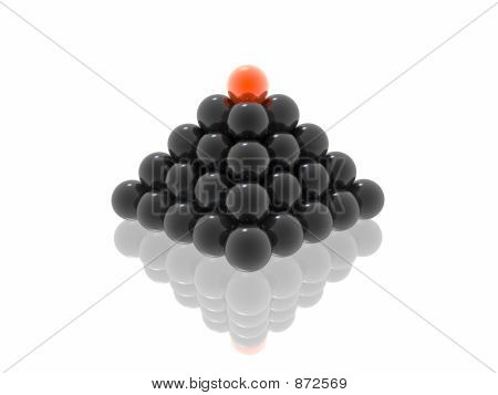 Black Pyramid With Red Ball