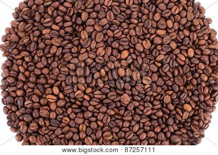 Coffee Beans circle close up.