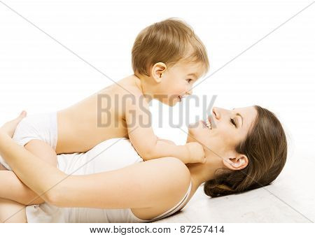 Mother Baby Love, Happy Mom With Kid Boy. Child And Family Isolated Over White