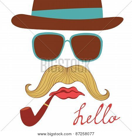 Hello card with colorful mustache party elements