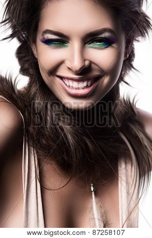 Smiling Woman With Braids Around Neck