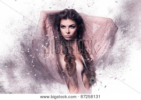 Woman In Pink Scarf In Dust