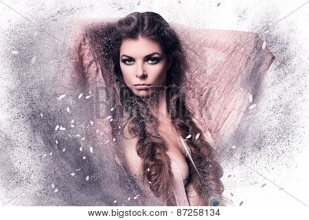 Woman In Pink Scarf With Feather In Dust