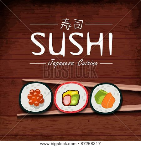 Sushi vector background. Japanese cuisine. Vector illustration