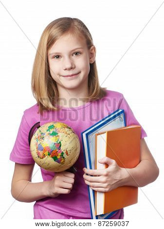 Girl With Globe And Textbooks