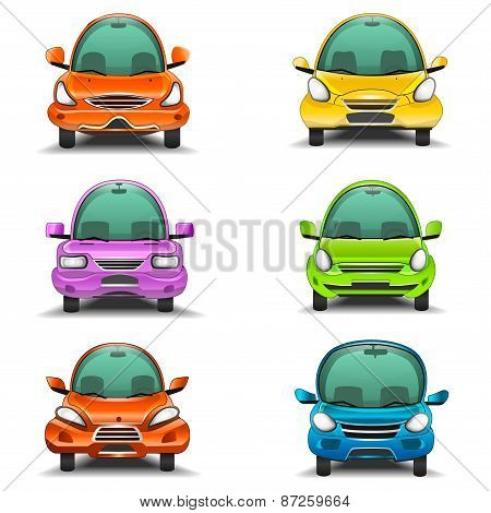 Colorful cartoon cars front view illustration
