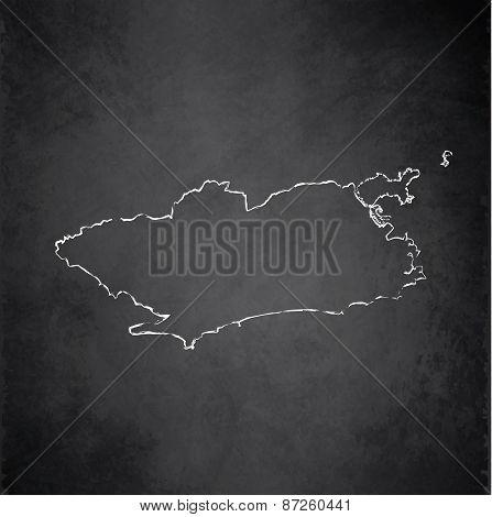 Rio de Janeiro map city blackboard chalkboard raster