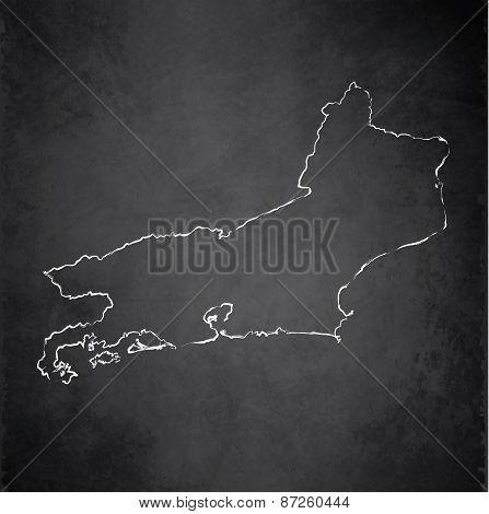 Rio de Janeiro map state blackboard chalkboard raster