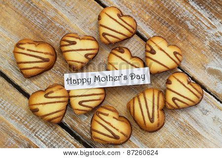 Happy Mother's day card with heart shaped biscuits