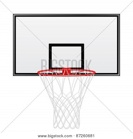 Black And Red Basketball Backboard Isolated On White Background