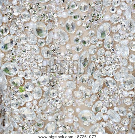 White rhinestones background
