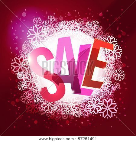 Winter Sale Colorful Typography At Cool Winter Background