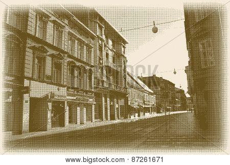 vector halftone old European street, retro style postcard