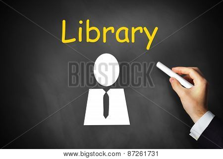 Hand Writing Library On Black Chalkboard