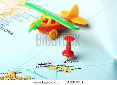 Menorca Island ,spain Map Airplane