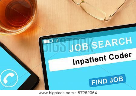 Tablet with Inpatient Coder on job search site.