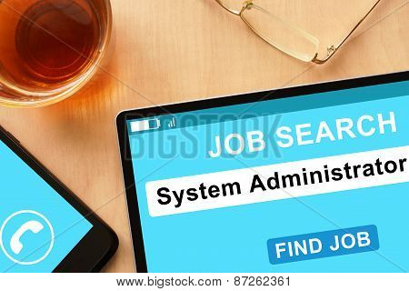 Tablet with System Administrator on job search site.