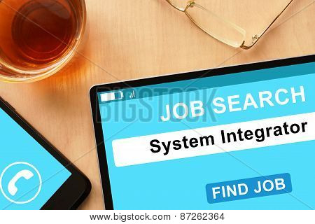 Tablet with System Integrator on job search site.