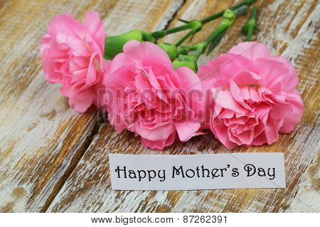 Happy Mother's day card with pink carnations