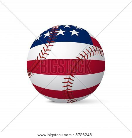 Baseball Flag Of Usa Isolated On White Background
