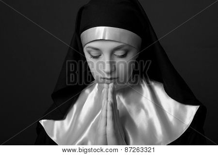 Black And White Portrait Of Young Beautiful Nun