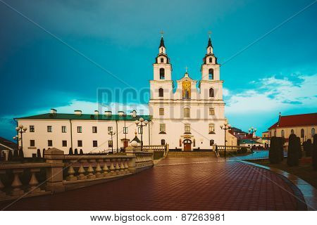 Cathedral Of Holy Spirit In Minsk, Belarus At Sunset Pink Light