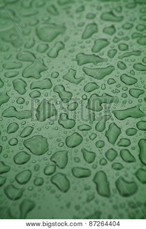 Full Frame of Water Drops on green background