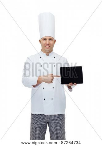 cooking, profession and people concept - happy male chef cook showing tablet pc computer black blank screen