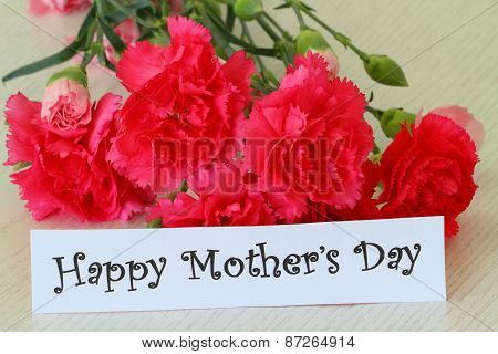 Happy Mother's Day note with pink carnation flowers