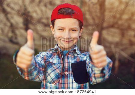 Little Boy Thumbs Up Vintage