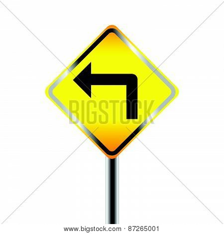 Turn left traffic sign