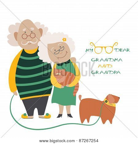 Elderly Couple With Their Dog