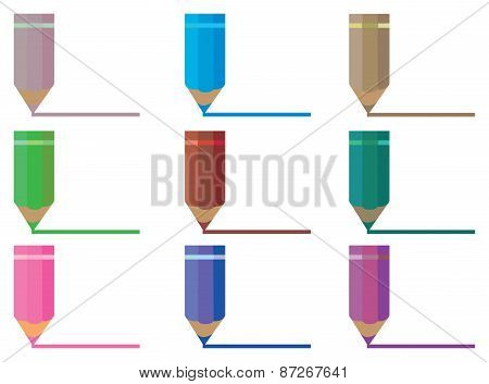 Color Pencils Drawing Line Vector Illustration