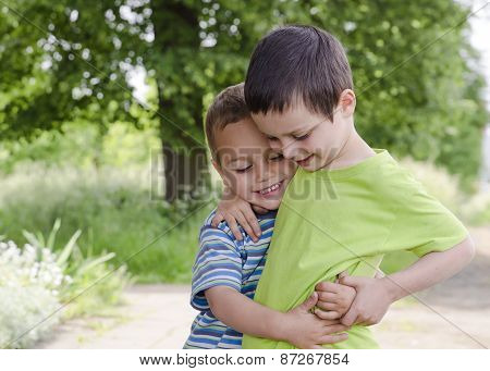 Children Playing And Hugging