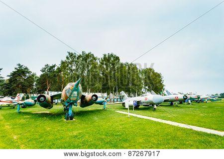Russian Soviet planes stands in Aviation Museum near Minsk
