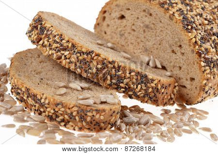 Slices whole grain bread decorated with natural cereals