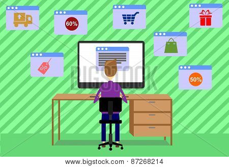 man with computer shopping
